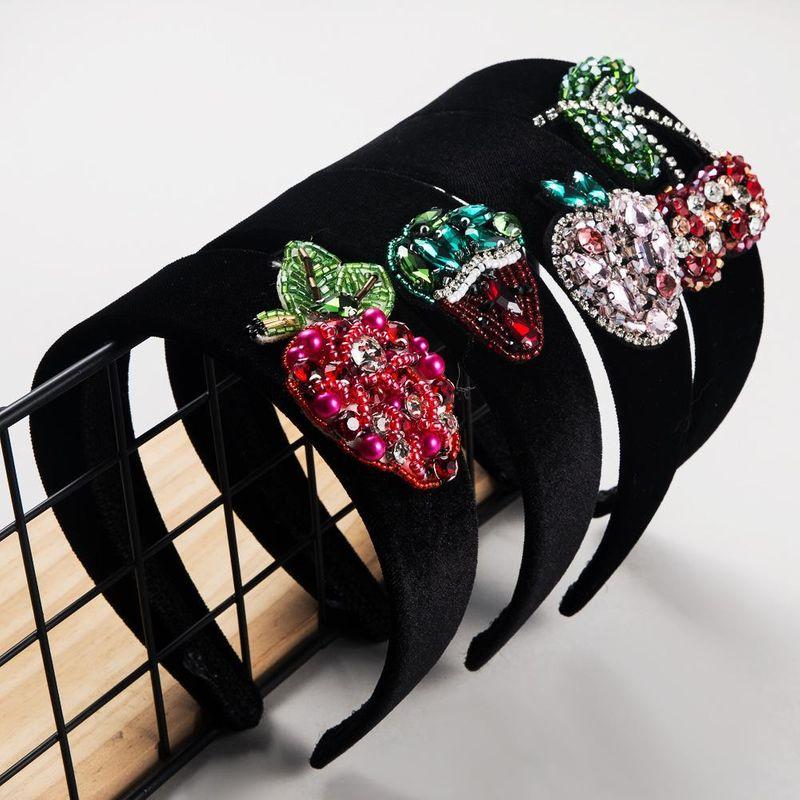Accessories Korean fashion creative fruit cute hair hoop for women diamond wide edge cat ear headband suppliers china Hair NHLN202555