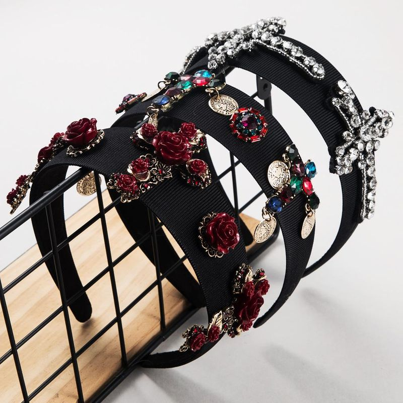 Vintage Baroque Cross Red Colored Rhinestone Headband suppliers china NHLN202556