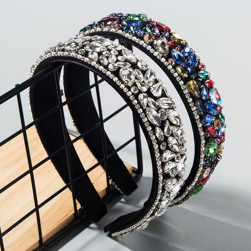 Fashion Inlaid Rhinestone Headband Thin Sponge Wide Edge Colorful Headband suppliers china NHLN202558