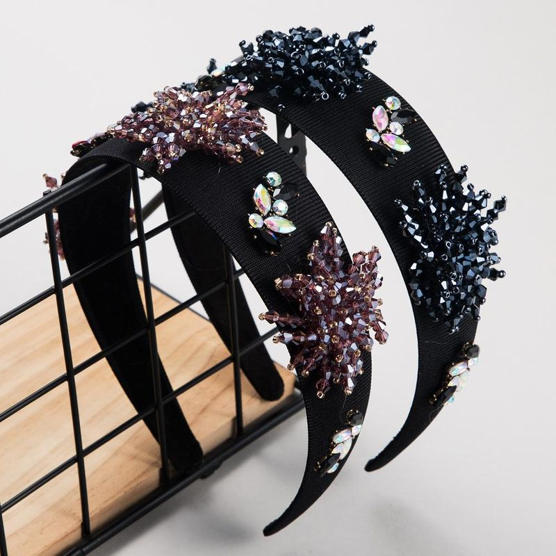 Women's new fashion baroque wide-edge fabric with crystal hair hoop suppliers china NHLN202560