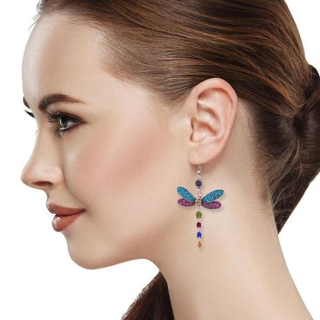 Jewellery for women Dragonfly Long cheap Earrings with Diamond Alloy Earrings wholesales yiwu NHLN202561's discount tags