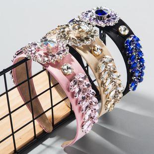 Women's baroque headband sun flower leaf glass diamond wide brim prom headband for women suppliers china NHLN202562's discount tags