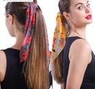 Streamer ponytail hair band cheap hair ring boho printed hair ring ladies hair rope NHLN202563