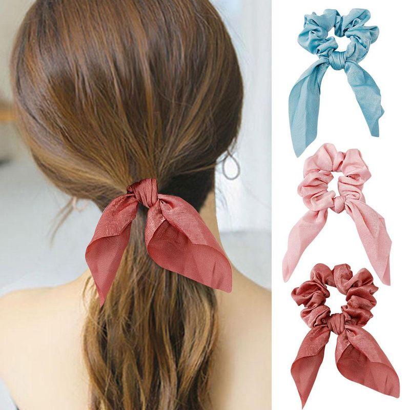 Fashion ponytail hair ring female Korean multicolor hair rope rabbit ear bow cheap hair band NHLN202564