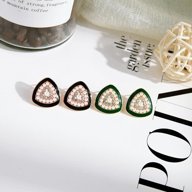 Fashion earrings for women enamel glaze pearl earrings diamond geometric earrings NHQD202579