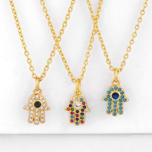 New fashion hamsa evil eye hand of fatima blue eye necklace women wholesale NHAS202588's discount tags