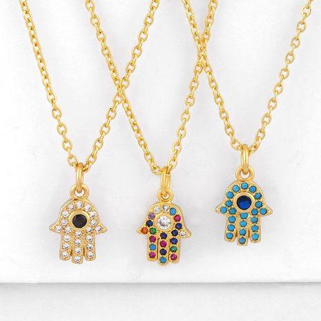 New fashion hamsa evil eye hand of fatima blue eye necklace women wholesale NHAS202588's discount tags