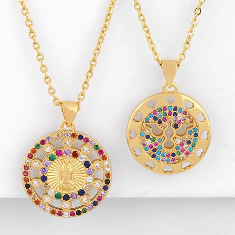 Fashion cheap jewelry Virgin Mary pendant necklace copper inlaid colorful zircon necklace women NHAS202589's discount tags