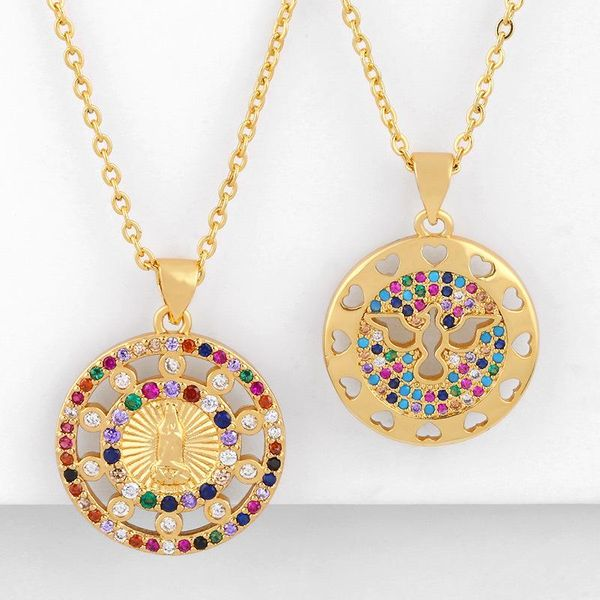 Fashion cheap jewelry Virgin Mary pendant necklace copper inlaid colorful zircon necklace women NHAS202589