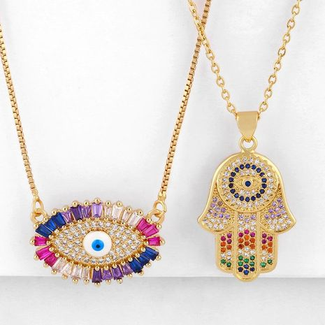 Fashion cheap jewelryNew AccessoriesFatima Hand Necklace Eye Micro Inlaid Zircon Necklace NHAS202590's discount tags