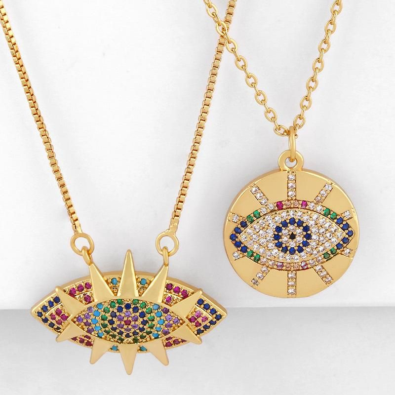 New Accessories Mother's Day Necklace Simple Micro-Set Inlaid Diamond Devil's Eye Round Pendant Necklace NHAS202591
