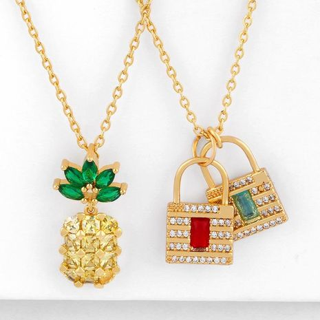 Fruit pineapple short paragraph chain Korean sweet simple crystal pendant diamond necklace NHAS202592's discount tags