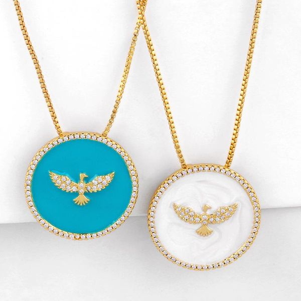 Fashion cheap jewelry simple geometric drip oil round pendant pigeon pendant diamond necklace NHAS202593