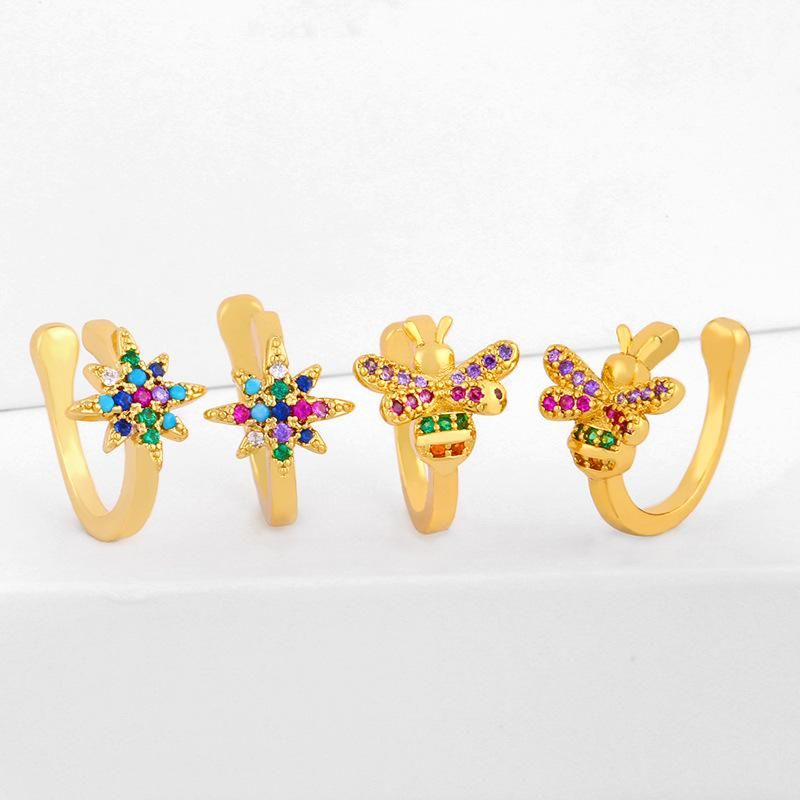 Korean six-pointed star ear clip cute star bee ear clip without piercing ear clip female NHAS202594