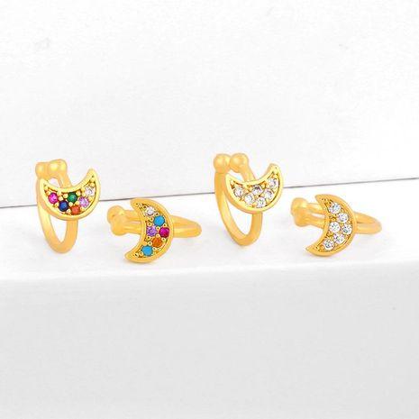 Clips de oreja de estrella y luna micro-set clips de oreja de circón de color Pendientes en forma de C NHAS202595's discount tags