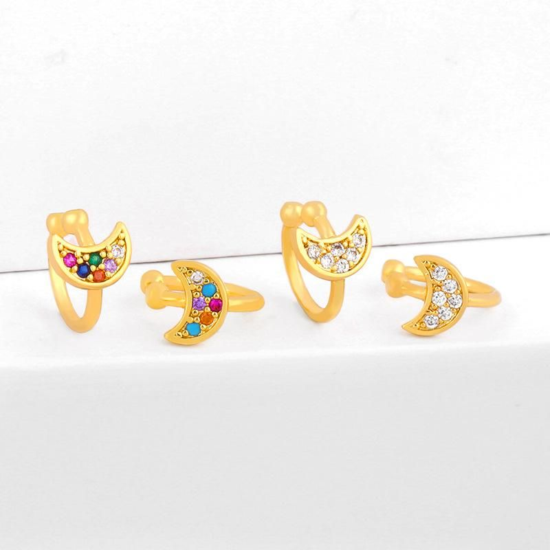 Star and moon ear clips micro-set color zircon ear clips C-shaped earrings NHAS202595