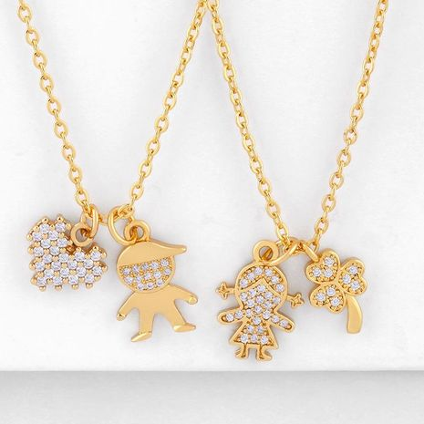 Fashion cheap jewelry Korean pendant gold-plated diamond couple necklace pendant NHAS202596's discount tags