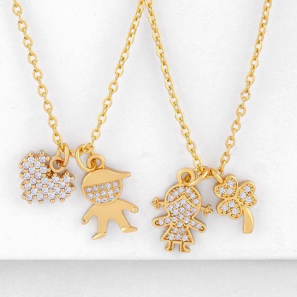 Fashion cheap jewelry Korean pendant gold-plated diamond couple necklace pendant NHAS202596