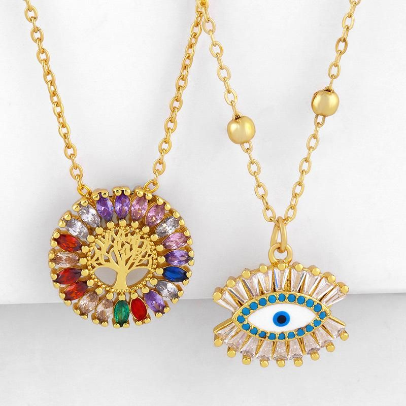 Fashion jewelry microcolored gemstone life tree round pendant cheap necklace clavicle chain NHAS202597