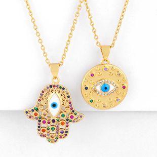 Collar de mujer colgante redondo barato con ojos azules turcos y collar de diamantes NHAS202598's discount tags
