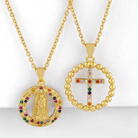 Fashion Virgin Mary Necklace 18K Gold Plated Cross Necklace Female Zircon Necklace NHAS202599's discount tags