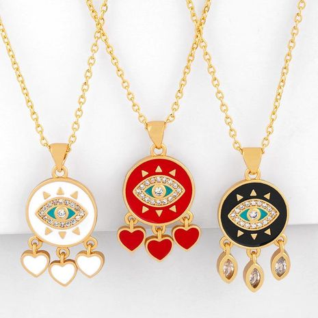 Fashion Simple Cheap Short Chain Necklace with Micro-Set Zircon Love Peach Tassel Pendant NHAS202600's discount tags