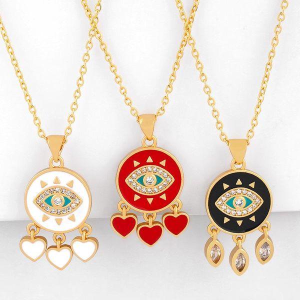 Fashion Simple Cheap Short Chain Necklace with Micro-Set Zircon Love Peach Tassel Pendant NHAS202600
