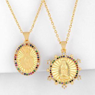 Colgante de Virgen María con circón de color dorado, collar de tendencia hip hop barato dorado NHAS202601's discount tags