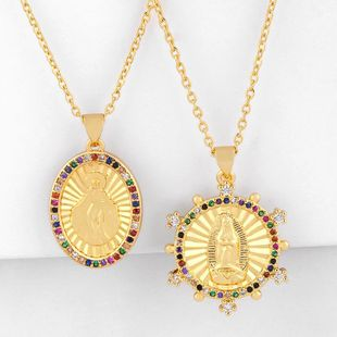 Diamond colored zircon Virgin Mary pendant golden cheap hip hop trend necklace NHAS202601's discount tags