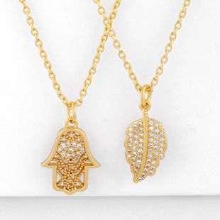 Hip-hop diamond palm necklace pendant cheap gold leaf necklace for women NHAS202603's discount tags