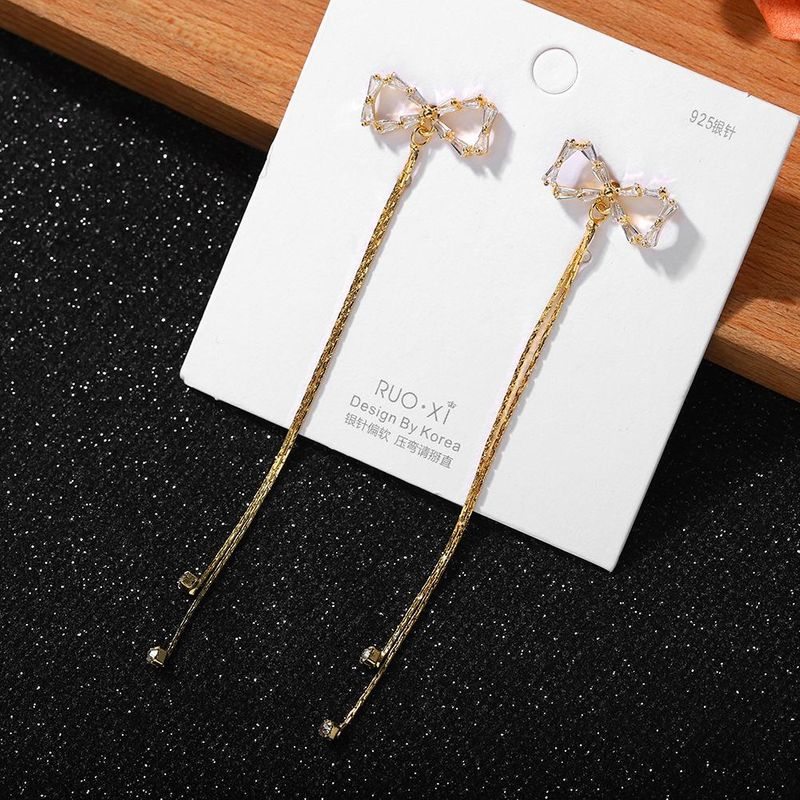 Jewellery for women Korean simple small diamond acryl earrings new fashion bow silver pin earrings wholesales yiwu NHJQ202610