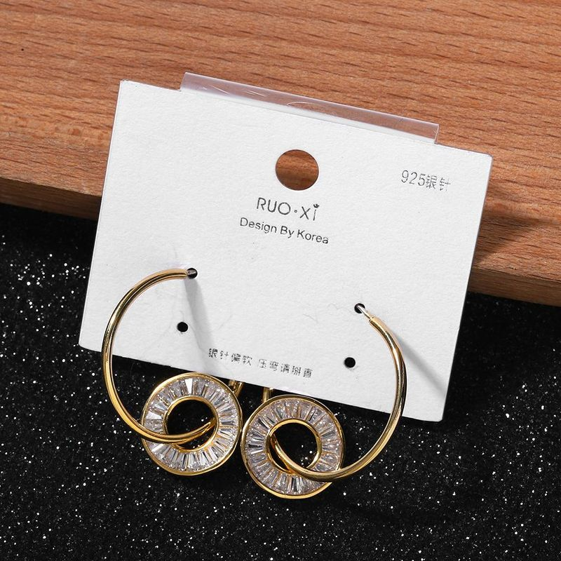 925 Silver Pin Fashion Round Runner Earrings New Crystal Earrings cheap wholesales yiwu NHJQ202619