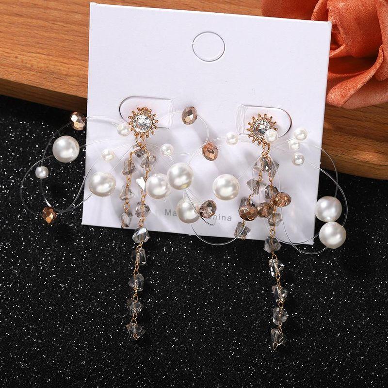 New fashion creative handmade beaded crystal tassel Korean diamond long earrings women wholesales yiwu NHJQ202620