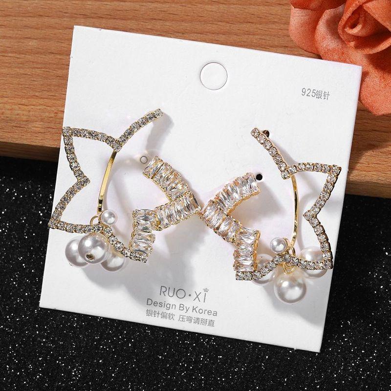 Fashion Pearl Pentagram Flower Diamond Earrings New Acrylic Party Earrings cheap wholesales fashion NHJQ202622