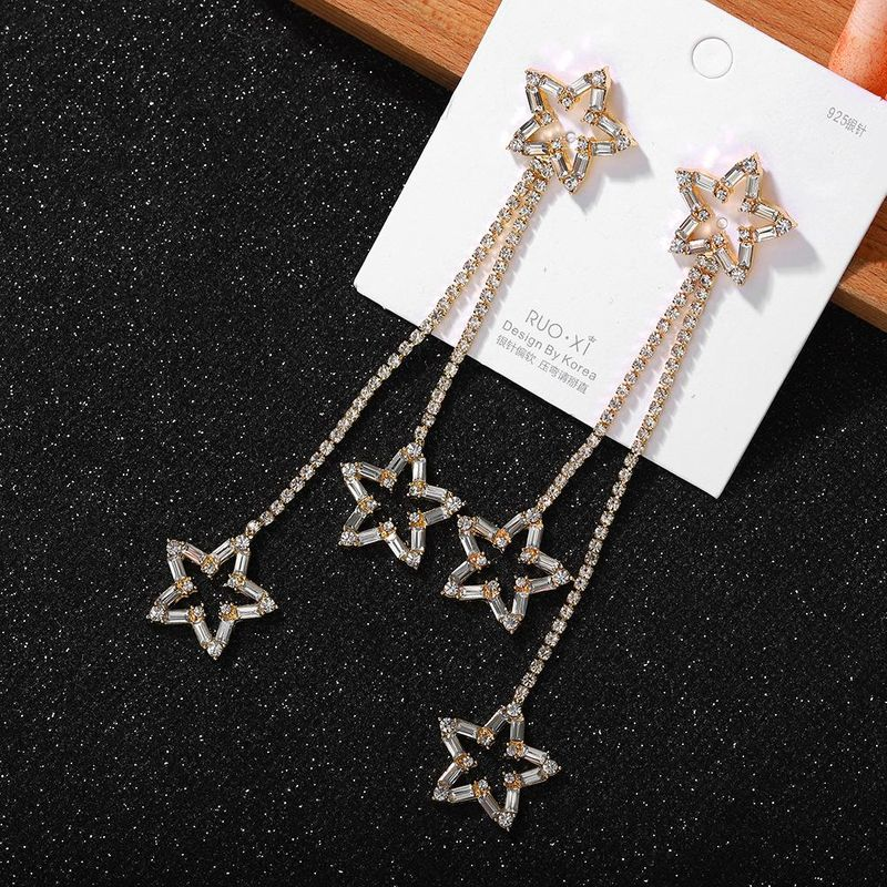 Fashion Tassel Pentagram Earrings New Trendy Bridal Diamond Earrings NHJQ202624