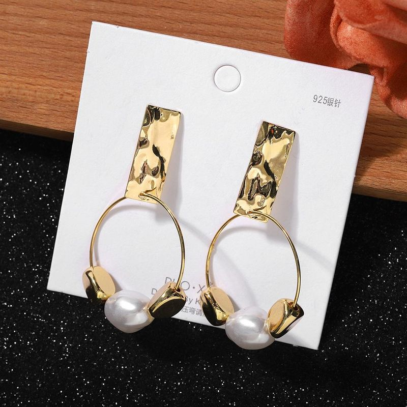 New Trendy Fashion Pearl Round Earrings 925 Silver Needle Korean Simple Sequin Plating Ear Jewelry NHJQ202628