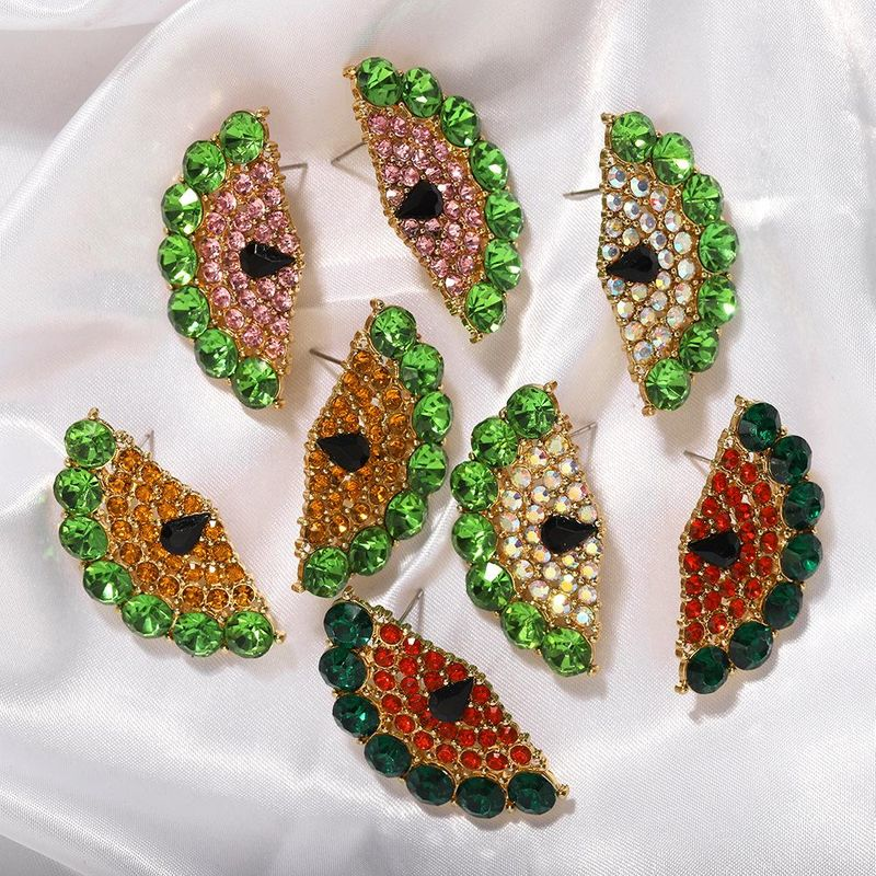 Cool sweet fruit earrings fashion watermelon diamond earrings NHJQ202634