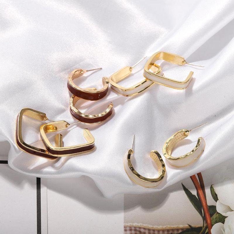 Fashion earrings for women 925 silver needle simple geometric graphics fashion paint earrings NHJQ202635