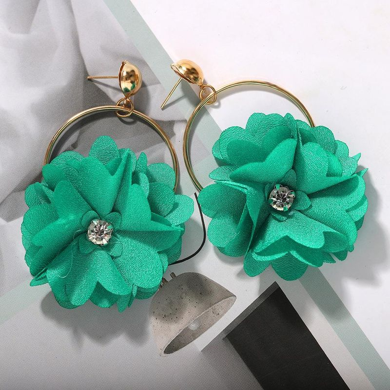 Fashion earrings for women Bohemian Hollow Fabric Woven Diamond Flower Earrings NHJQ202644