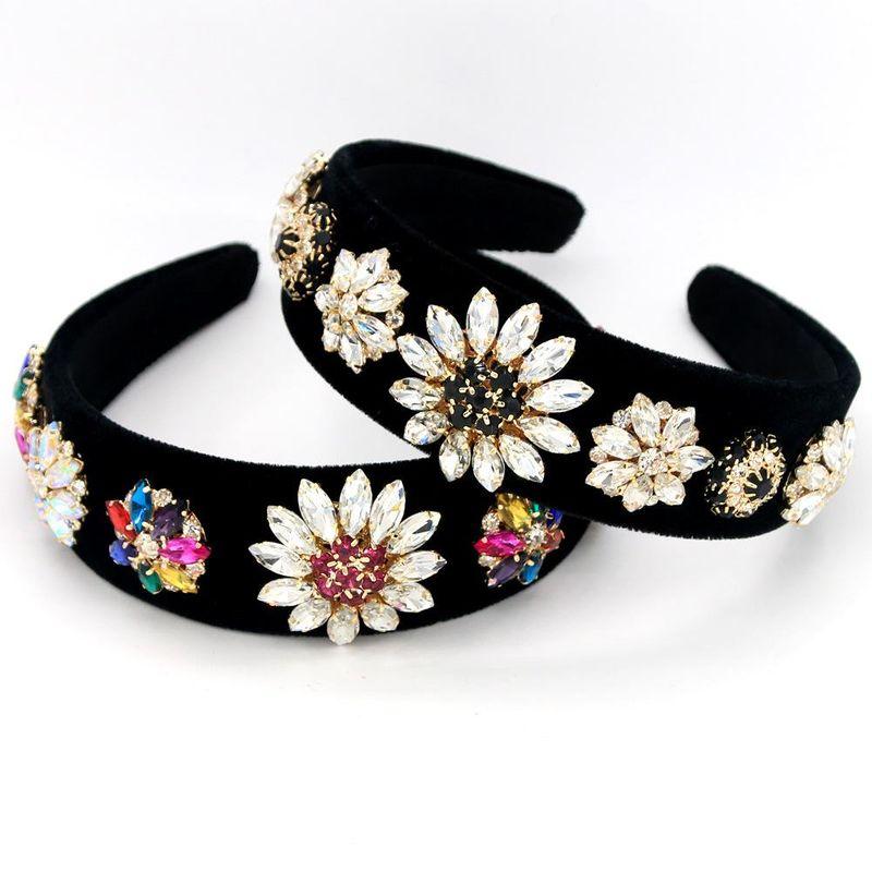 New fashion natural stone glass rhinestone diamond color diamond gold velvet headband suppliers china NHCO202651