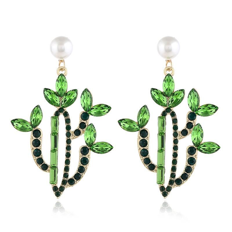 Fashion earrings for women acrylic flower earrings cactus earrings alloy diamond earrings NHVA202706