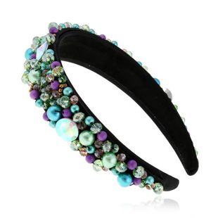 Vintage pearl hair band for women rhinestone hairpin headband wide edge hair accessory suppliers china NHVA202714's discount tags