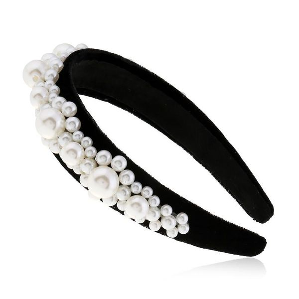 Hair accessories pearl headband for women simple wide-satin satin headband head jewelry suppliers china NHVA202722