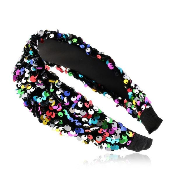 Fashion new sequins wide edge hair hoop for women adult hair band suppliers china NHVA202739