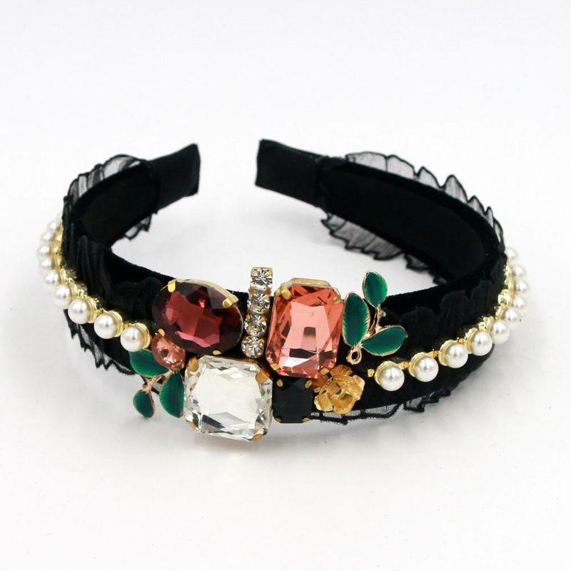 Diamond Pearl Big Gem Lace Handmade Hoop Prom Headband suppliers china NHCO202645