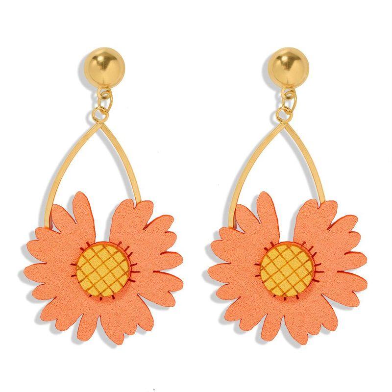 New Fabric Hollow Earrings Fashion Alloy Flower Earrings Wholesale NHJQ202638