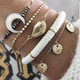 Vintage jewelry round beads moon horns shell starfish bracelet 5-piece women NHGY203480