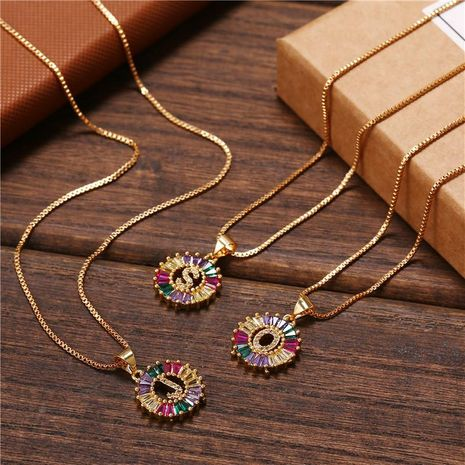 necklace creative necklace clavicle chain micro inlaid color zircon 26 letter necklace women NHJJ202755's discount tags