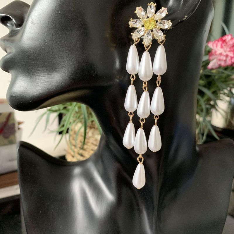 New style flower pearl drop earrings elegant for women earrings with jewelry NHJJ202757