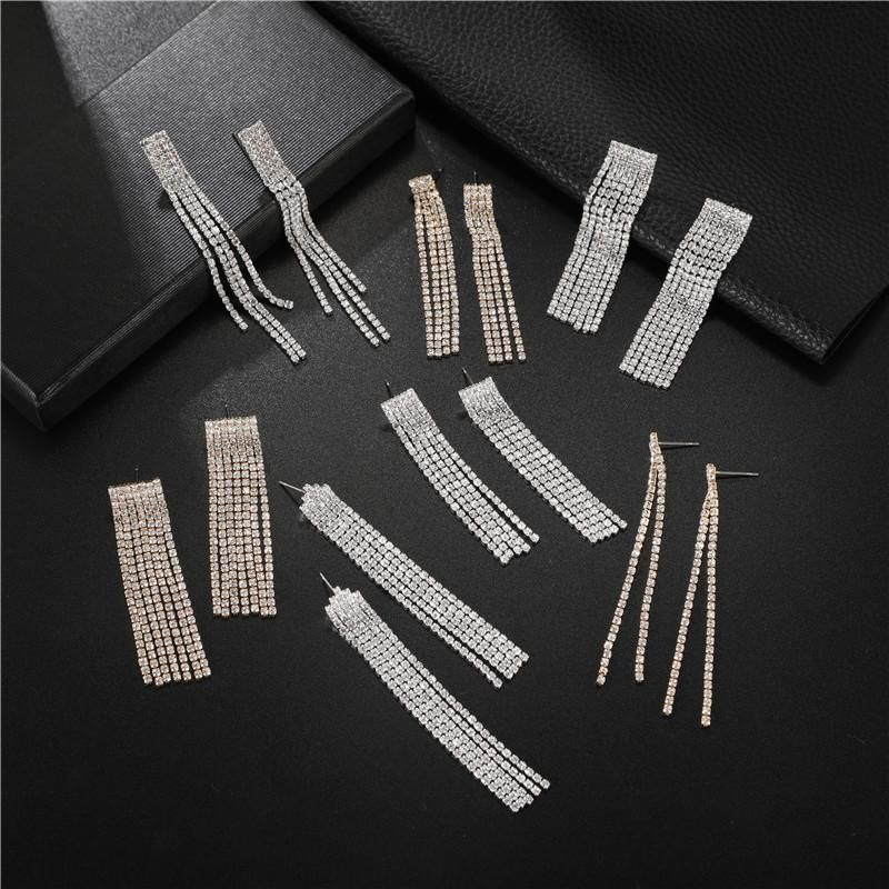 Multi-layer Rhinestone and Diamond Claw Chain New Fashion Full Diamond Simple Geometric Tassel Earrings NHJJ202759
